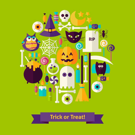 Trick or Treat Halloween Concept. Vector Illustration of Scary Party Colorful Objects. Illustration