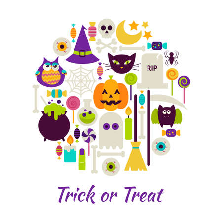 Trick or Treat Objects over White. Vector Illustration of Halloween isolated Items Set.