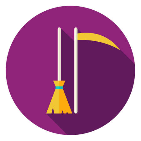 besom: Broom and Scythe Circle Icon. Flat Design Vector Illustration with Long Shadow. Witch and Reaper Symbol.