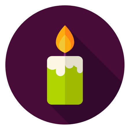 fire circle: Candle Fire Circle Icon. Flat Design Vector Illustration with Long Shadow. Witch Halloween Symbol. Illustration
