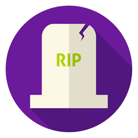 christian halloween: RIP Tombstone Circle Icon. Flat Design Vector Illustration with Long Shadow. Scary Halloween Symbol.