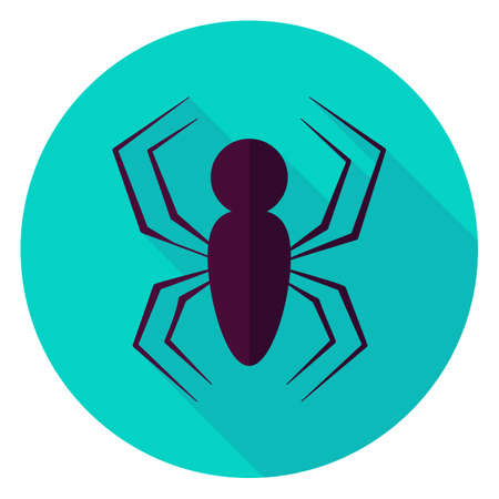 latrodectus: Spider Circle Icon. Flat Design Vector Illustration with Long Shadow. Scary Insect Symbol.