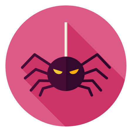 latrodectus: Spider Hanging on Web Icon. Flat Design Vector Illustration with Long Shadow. Scary Insect Symbol.