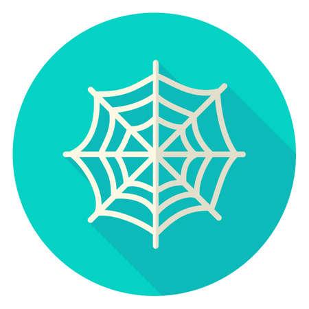 Spinneweb Circle Icon. Flat Design Vector Illustratie met Long Shadow. Scary Symbol.