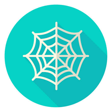 Spider Web Circle Icon. Flat Design Vector Illustration with Long Shadow. Scary Symbol.