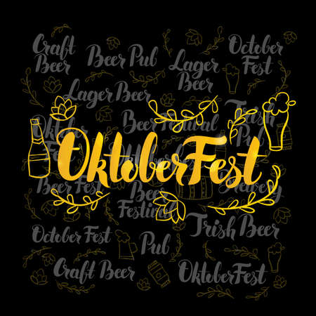 irish pub label: Oktoberfest Gold Lettering over Black Design. Vector Illustration of Beer Holiday Calligraphy with Decoration.