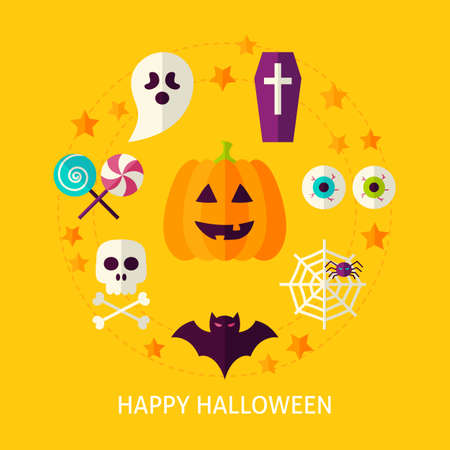 Happy Halloween Flat Concept. Flat Poster Design Vector Illustration. Collection of Trick or Treat Objects.
