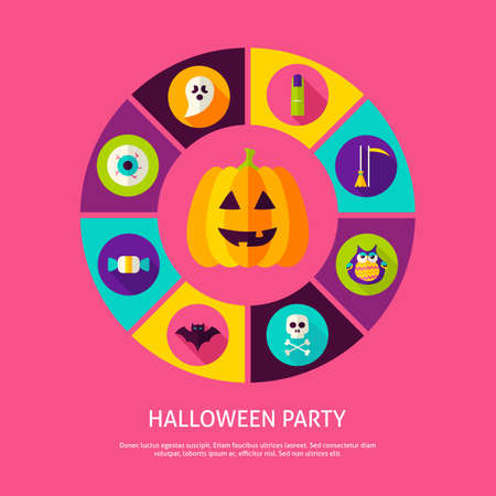 Halloween Party Infographic Concept. Vector Illustration of Trick or Treat Infographics Circle with Circle Icons.