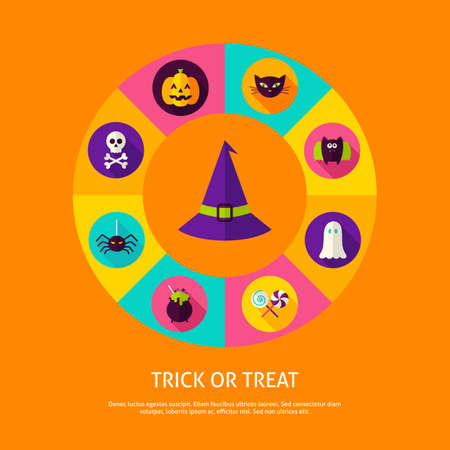 Trick or Treat Infographic Concept. Vector Illustration of Halloween Infographics Circle with Witch Hat and Circle Icons.