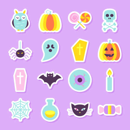 Halloween Party Stickers Set. Flat Style Vector Illustration. Modern Cute Objects In Trendy Colors. Trick or Treat. Illustration