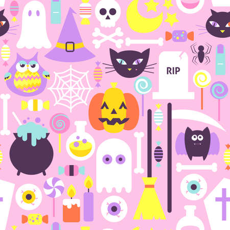 Trendy Style Halloween Seamless Pattern. Flat Design Vector Modern Tile Texture Background. Trick or Treat.
