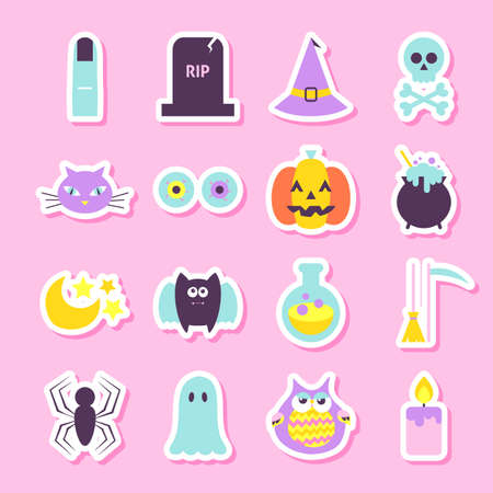 90s: Trick or Treat Halloween Stickers. Flat Style Illustration. Halloween Party Objects in Trendy Colors. Stock Photo