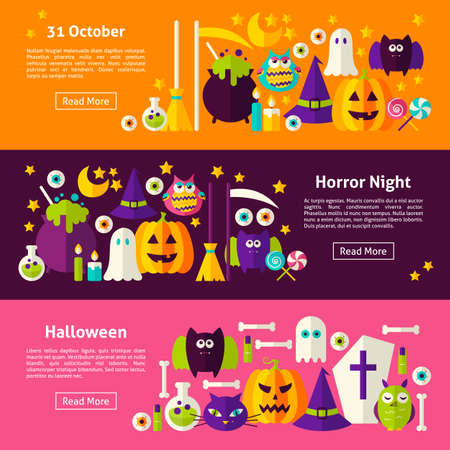 website header: Happy Halloween Web Horizontal Banners. Flat Style Illustration for Website Header. Trick or Treat Objects.