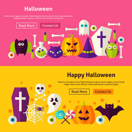 website header: Happy Halloween Website Banners. Illustration for Web Header. Trick or Treat Modern Flat Design. Stock Photo