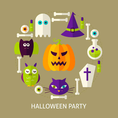Halloween Party Greeting Card. Poster Design Vector Illustration. Trick or Treat Flyer.