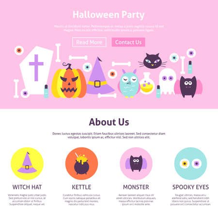 Halloween Party Website Design. Flat Style Vector Illustration for Website Banner and Landing Page. Trick or Treat. Illustration