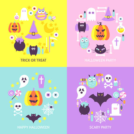 Halloween Trendy Concepts Set. Flat Design Vector Illustration. Collection of Trick or Treat Posters.