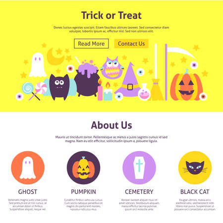 Trick or Treat Website Design. Flat Style Vector Illustration for Website Banner and Landing Page. Happy Halloween.