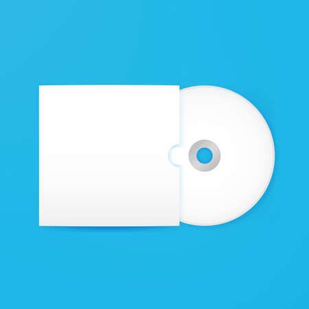 recordable: Compact Disc Empty Mockup with Cover. Vector Illustration of Blank White Realistic Disk over Blue Background. Illustration