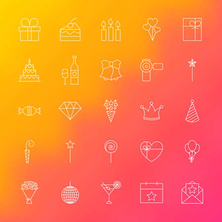 diamond candle: Party Time Line Icons. Vector Set of Outline Birthday Celebration Items over Blurred Background. Illustration