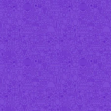 diamond candle: Violet Line Party Seamless Pattern. Vector Illustration of Outline Tile Background. Birthday Celebration.