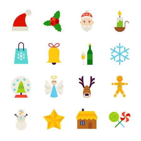 Winter Christmas Objects. Illustration. Happy New Year Holiday. Collection of Items isolated over White.