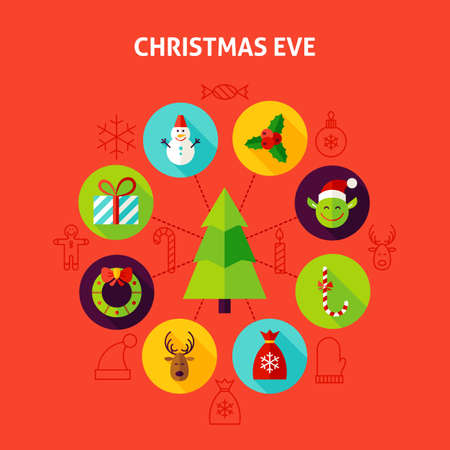 christmas eve: Christmas Eve Infographic Concept. Vector Illustration of Winter Holiday Circle with Flat Design Icons. Illustration