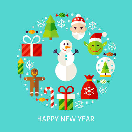 Concetto piano del buon anno. Illustrazione vettoriale di poster design. Set di oggetti invernali.