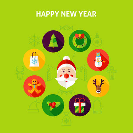 Happy New Year Infographics. Vector Illustration of Christmas Holiday Circle with Flat Design Icons. Illustration