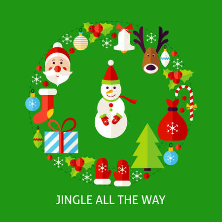 Jingle All The Way Postcard. Poster Design Vector Illustration. Set of Merry Christmas Objects. Illustration