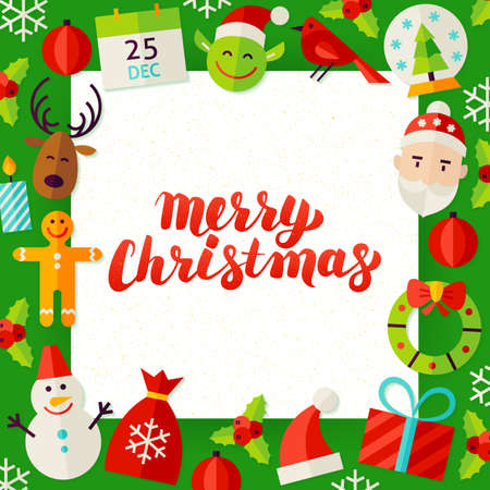 Merry Christmas Web Horizontal Banners Flat Style Vector