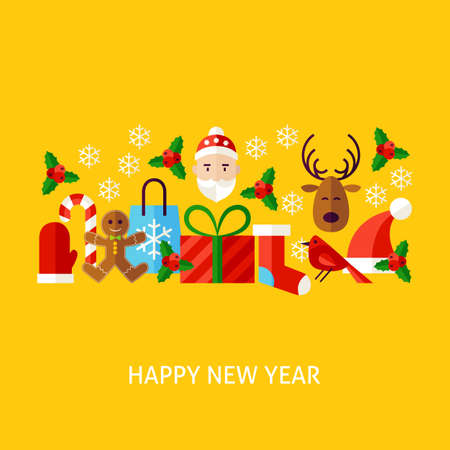 Happy New Year Greeting Card. Flat Poster Design Vector Illustration. Collection of Winter Holiday Objects.