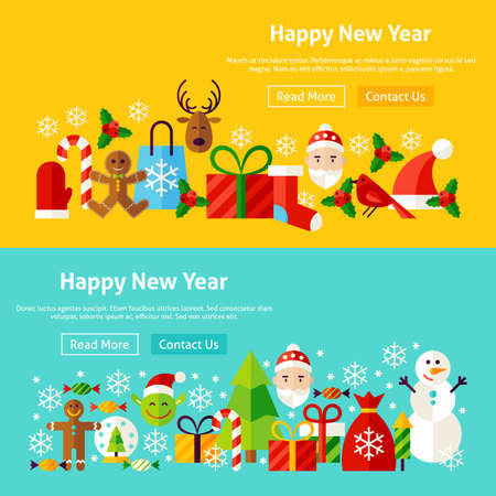 Happy New Year Website Banners. Vector Illustration for Web Header. Merry Christmas Modern Flat Design. Illustration