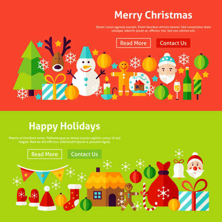 Merry Christmas Website Banners. Vector Illustration for Web Header. Happy Holidays Modern Flat Design.