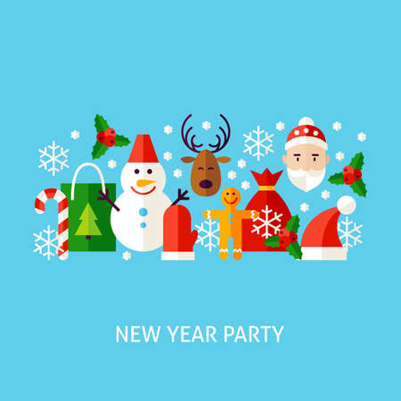 New Year Party Greeting Concept. Flat Poster Design Vector Illustration. Collection of Winter Holiday Objects.
