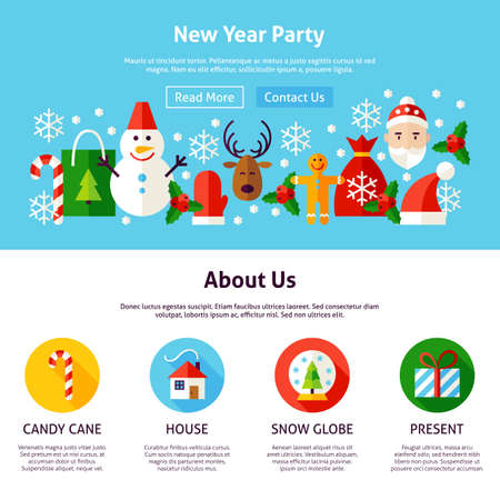 New Year Party Web Design. Flat Style Vector Illustration for Website Banner and Landing Page. Merry Christmas.