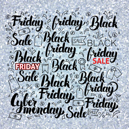 argent: Black Friday Set over Silver. Vector Illustration of Hand Drawn Shopping Sale Calligraphy.