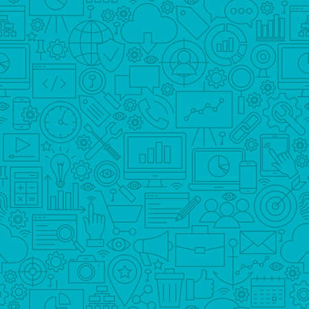 Blue SEO Line Tile Pattern. Vector Illustration of Outline Seamless Background. Web Development.