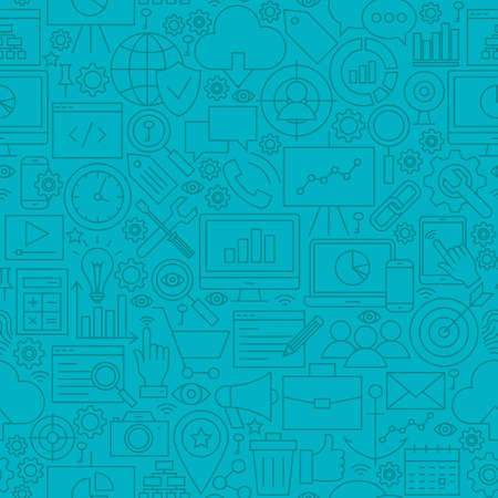 seo: Blue SEO Line Tile Pattern. Vector Illustration of Outline Seamless Background. Web Development.