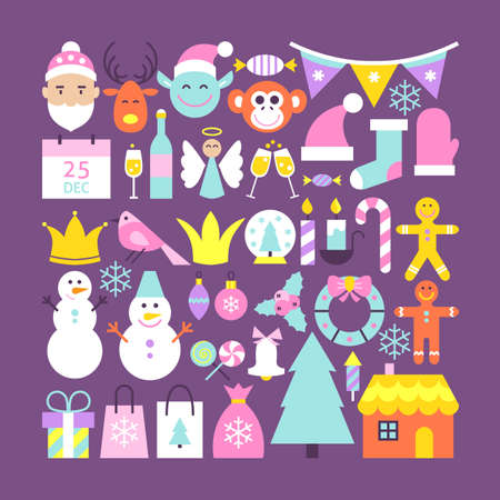 Cute Merry Christmas Objects. Flat Design Vector Illustration. Happy New Year Colorful Items. Illustration