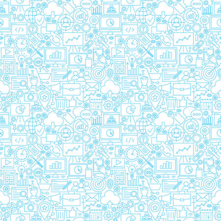 Line Web Development White Seamless Pattern. Vector Illustration of Outline Tile Background. Business and SEO. Illustration