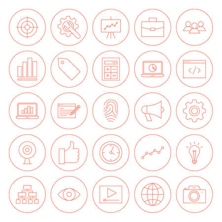 Line SEO Circle Icons. Vector Illustration of Outline Web Development Objects. Illustration