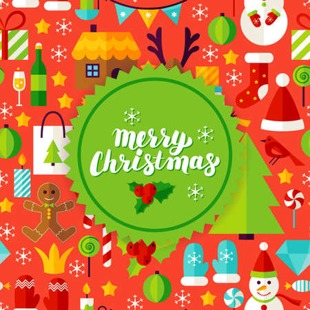 mitten: Merry Christmas Greeting Card. Flat Style Vector Illustration for Happy New Year Winter Holiday.