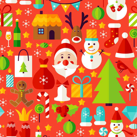 New Year Red Tile Pattern. Merry Christmas Flat Design Vector Illustration. Seamless Background. Illustration