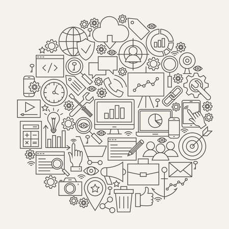 SEO Line Icons Circle. Vector Illustration of Web Development Outline Objects. Çizim