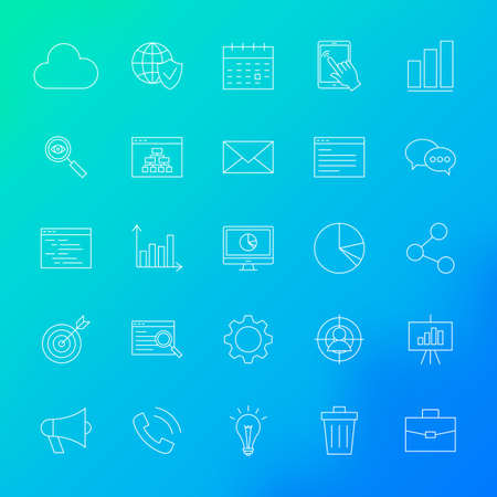 SEO Line Icons. Vector Set of Outline Website Development Items over Blurred Background.