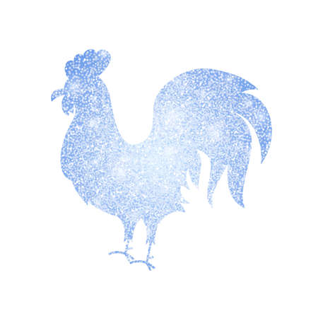 argent: Frozen Silver Rooster Silhouette. Vector Illustration of Chinese Happy New Year Symbol.