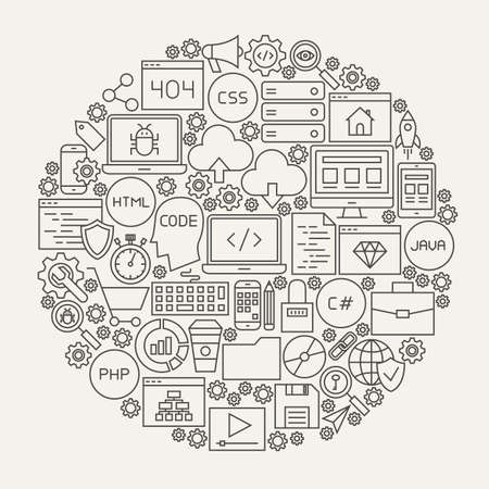 Coding Line Icons Circle. Illustration of Programming Skills Outline Objects.