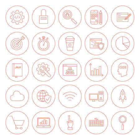 time specification: Line Website Development Circle Icons. Illustration of Outline Programming and Coding Objects.