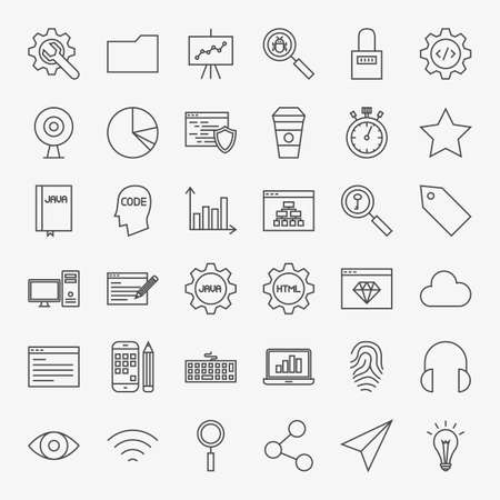 time specification: Web Development Line Icons Set.  Collection of Modern Thin Outline Coding and Programming Symbols.